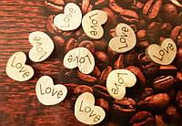 Набор(10 шт) деревянных сердечек LOVE