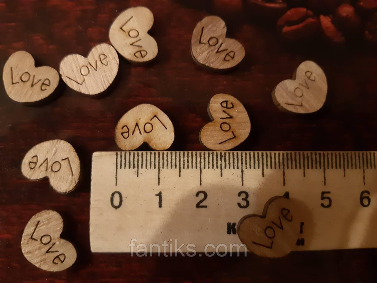 Сердечки деревянные LOVE -10 шт.