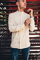 Рубашка мужская бежевая Linen Shirt (Лайнен Шёрт) от бренда Citizen размер S, M, L