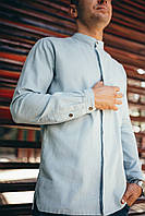Рубашка мужская голубая Linen Shirt (Лайнен Шёрт) от бренда Citizen размер S, M, L, XL