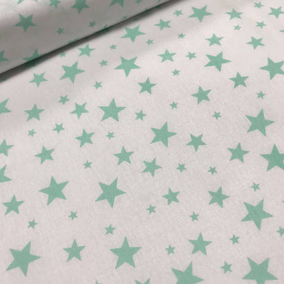 Ткань польская хлопковая, звезды мятные на белом крупные и мелкие
