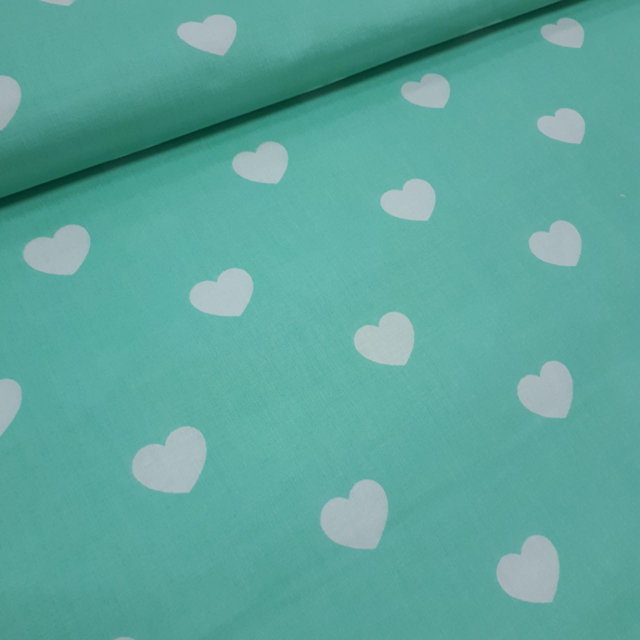 Ткань польская хлопковая, белые сердца на мятном