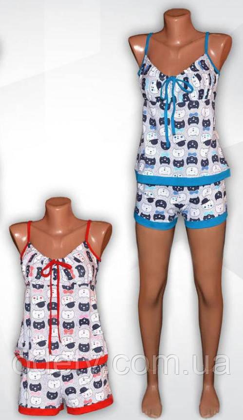 6e6095da6221 Женская летняя пижама майка+шорты. Летний домашний комплект. Пижама женская  легкая. -