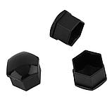 Защитные пластиковые крышки на колесные гайки 21 мм черные, фото 2