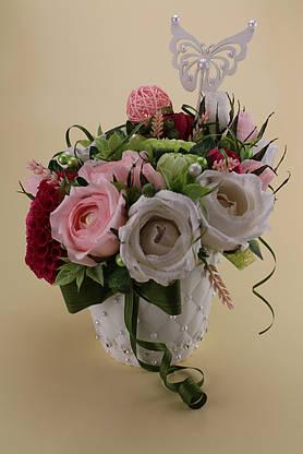 Композиция из конфет в кашпо из роз и георгин , фото 3