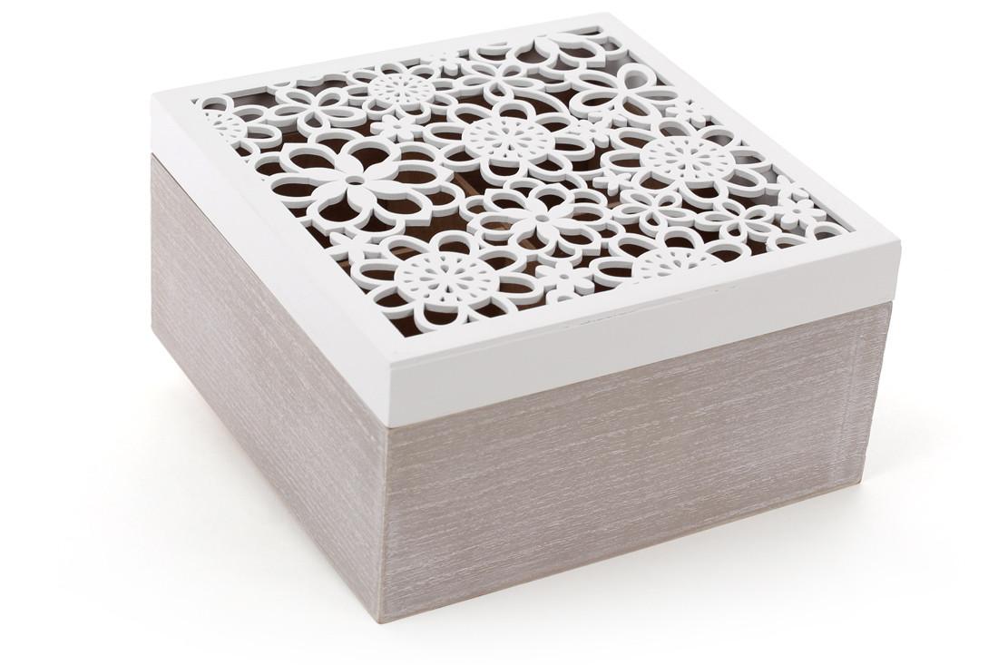 Коробка для чая деревянная (6 отделений) 18см с резной крышкой (493-707)