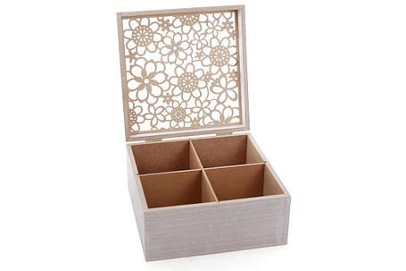 Коробка для чая деревянная (6 отделений) 18см с резной крышкой (493-707), фото 2