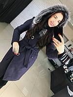 bb8ebc14951 Женское шерстяное зимнее пальто с поясом и мехом на капюшоне