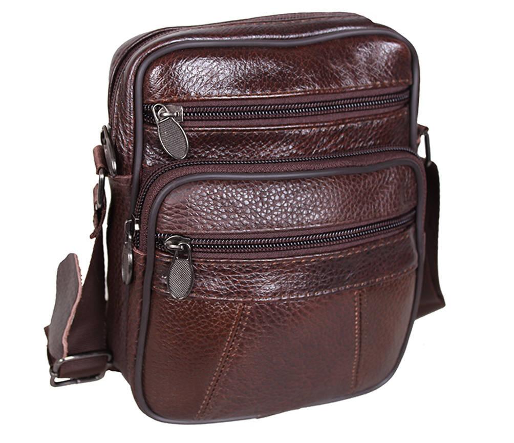 Мужская кожаная сумка Dovhani Bon R010-1 Коричневая