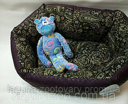 Лежак КОКОС 1 орнамент-бордо (48*38*18см) для собак и кошек, фото 3