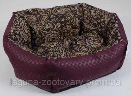 Лежак КОКОС 1 орнамент-бордо (48*38*18см) для собак и кошек