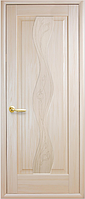 Дверное полотно Волна Глухое с гравировкой Ясень