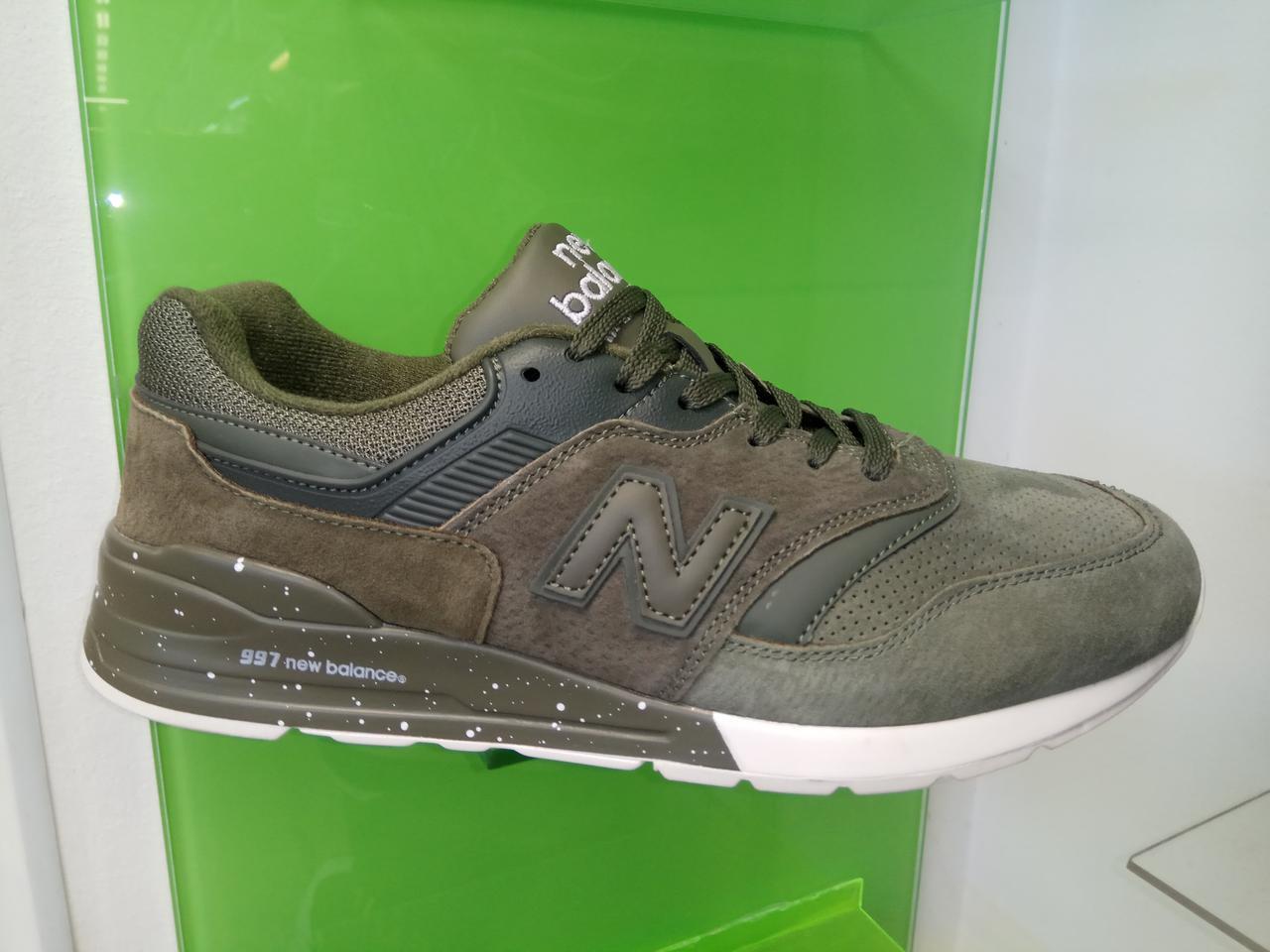 Мужские кроссовки New Balance 997 зеленые замш, размеры с 41 по 45