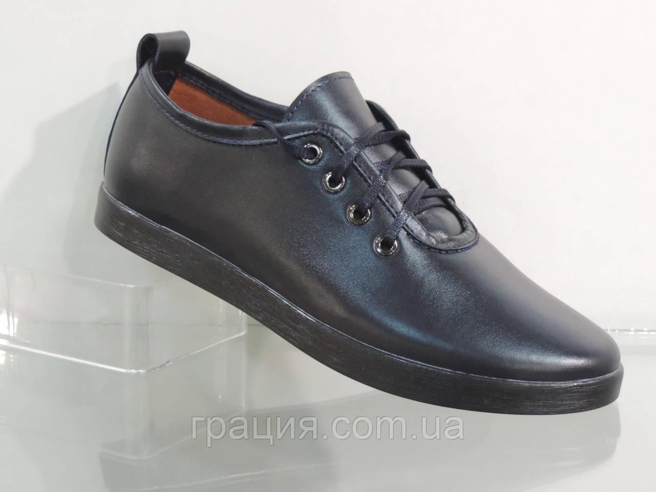 Туфли кожаные женские на шнуровке синие