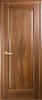 Дверное полотно Волна Глухое с гравировкой Золотая ольха