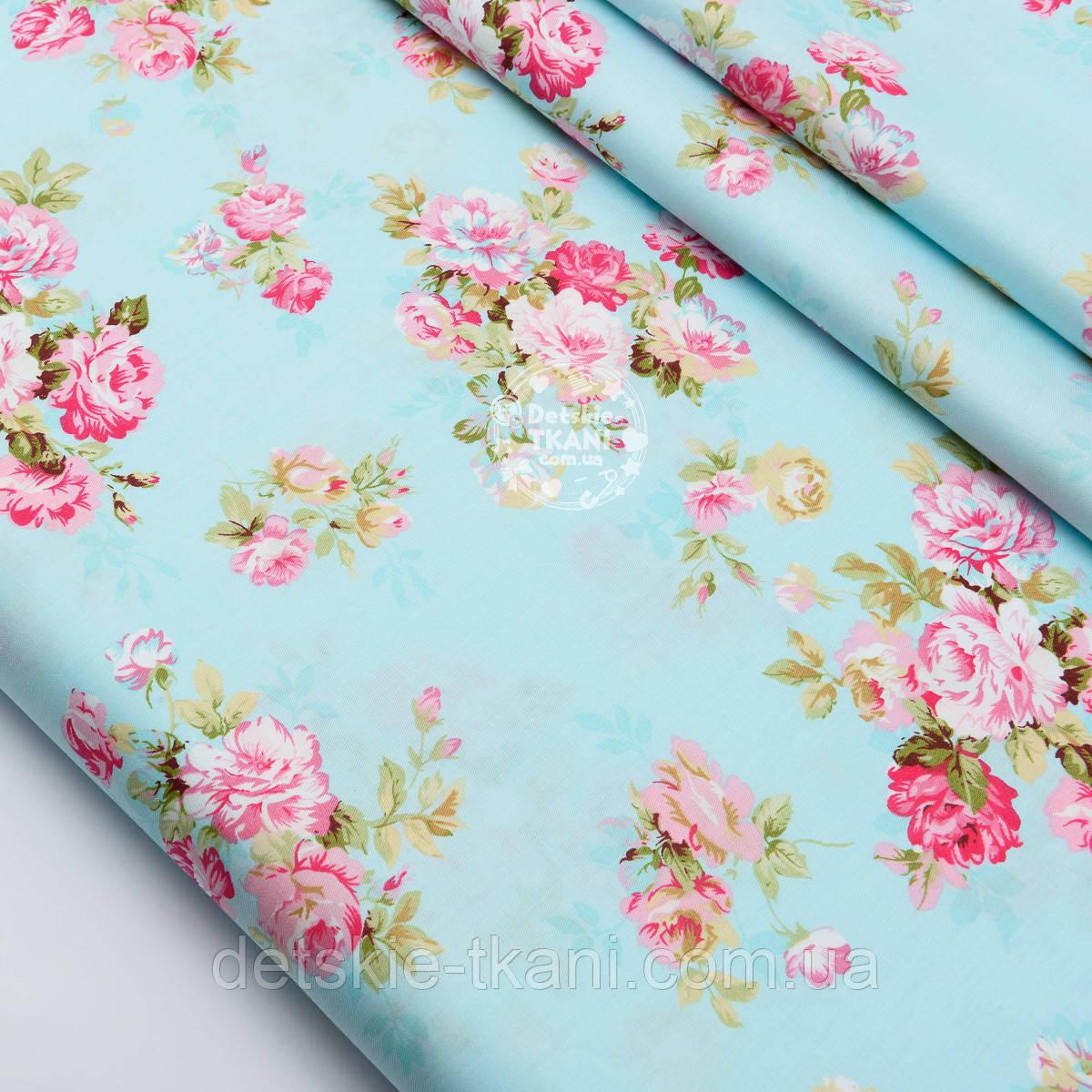 """Сатин ткань """"Розовые розы среднего размера на голубом""""  №1463с"""