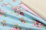 """Сатин ткань """"Розовые розы среднего размера на голубом""""  №1463с, фото 4"""