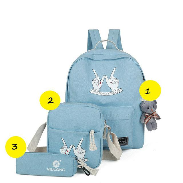 Молодежный рюкзак с сумочкой и косметичкой