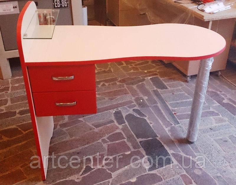 Маникюрный стол с красной кромкой  и выдвижными ящиками