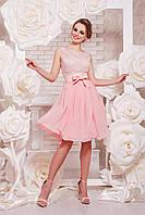 Коктейльное персиковое платье короткое, фото 1