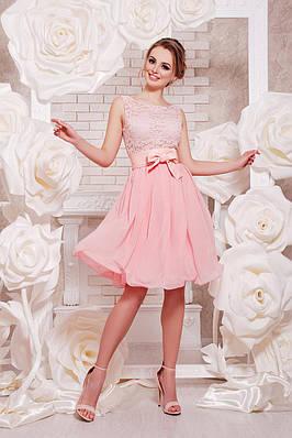 Коктейльное персиковое платье короткое