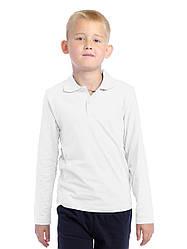 Детское Поло с длинным рукавом Белый 200 г/м²
