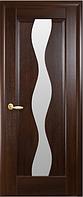 Дверное полотно Волна Со стеклом сатин Каштан