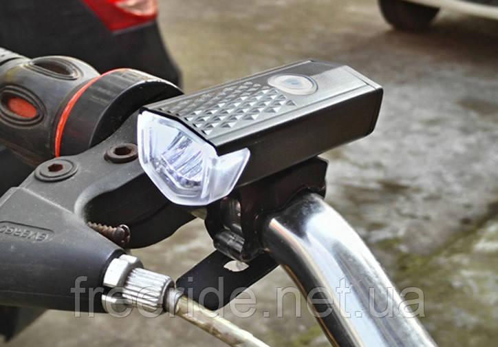 Велосипедный фонарь RAYPAL 300 lumen алюминиевый, 800mAh зарядка от USB