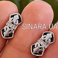 Геральдические серебряные мужские запонки с черной эмалью