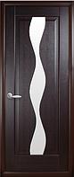 Дверное полотно Волна Со стеклом сатин Венге new