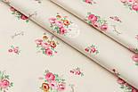 """Сатин ткань """"Маленькие букетики с надписями на светло-бежевом""""  №1465с, фото 3"""