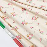 """Сатин ткань """"Маленькие букетики с надписями на светло-бежевом""""  №1465с, фото 4"""