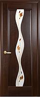 Дверное полотно Волна Со стеклом сатин и рисунком Р1 Каштан