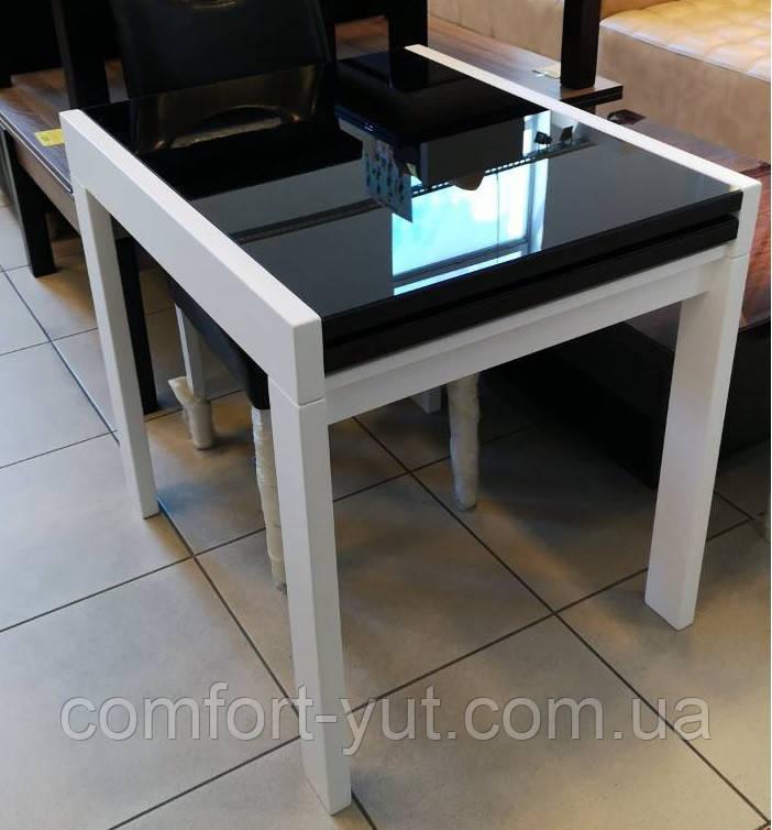 Стіл обідній Слайдер Білий зі склом Чорний, 81,5(+81,5)*67см