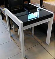 Стол обеденный Слайдер  Белый со стеклом Черный, 81,5(+81,5)*67см