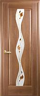 Дверное полотно Волна Со стеклом сатин и рисунком Р1 Золотая ольха