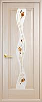 Дверное полотно Волна Со стеклом сатин и рисунком Р1 Ясень