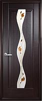 Дверное полотно Волна Со стеклом сатин и рисунком Р1 Венге new