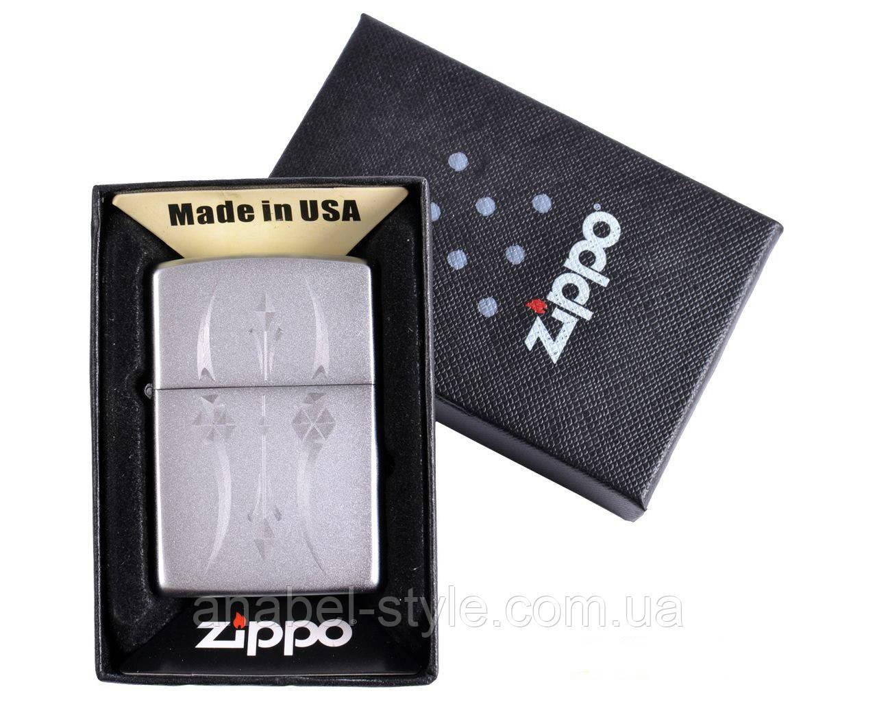 Зажигалка бензиновая Zippo в подарочной упаковке №4728-2 Код 118539