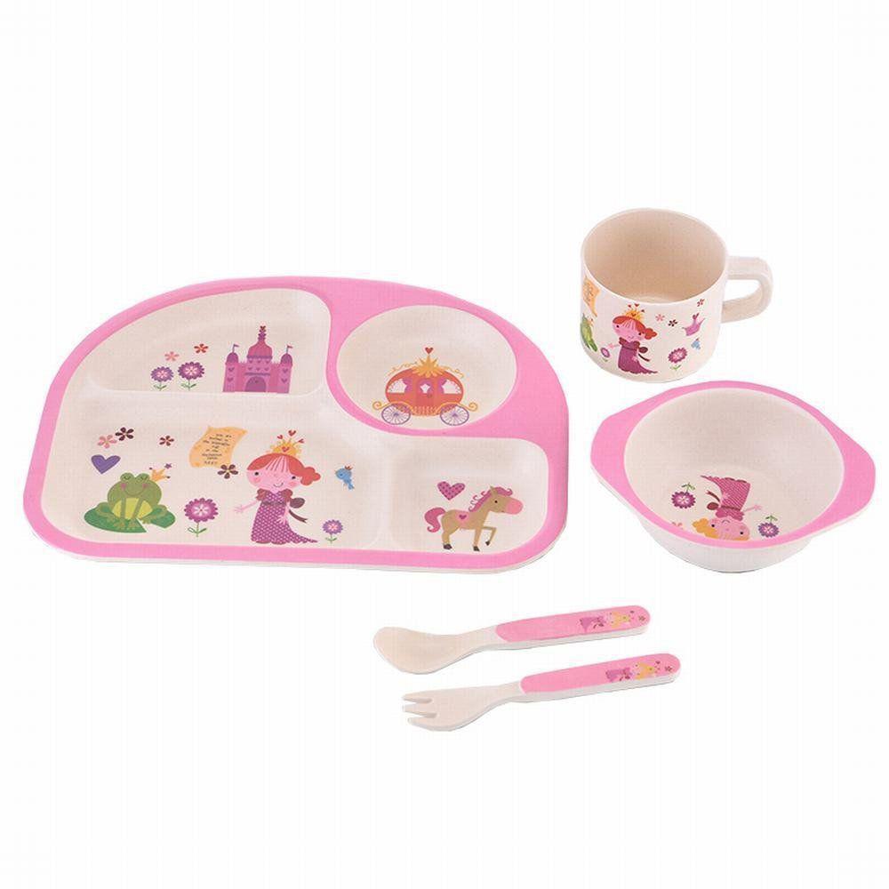 Набор детской бамбуковой посуды Eco Bamboo fibre kids set  5 предметов N02331 Pink