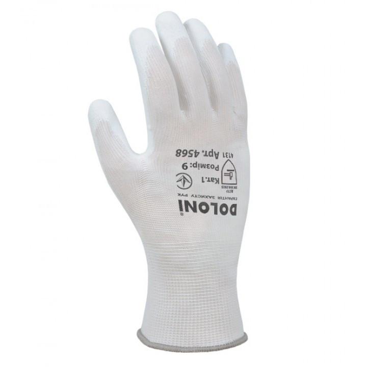Перчатки DOLONI (4568) трикотаж. с полиуретан. покрыт., неполн. облив,белые, 9 размер(60)пар в уп