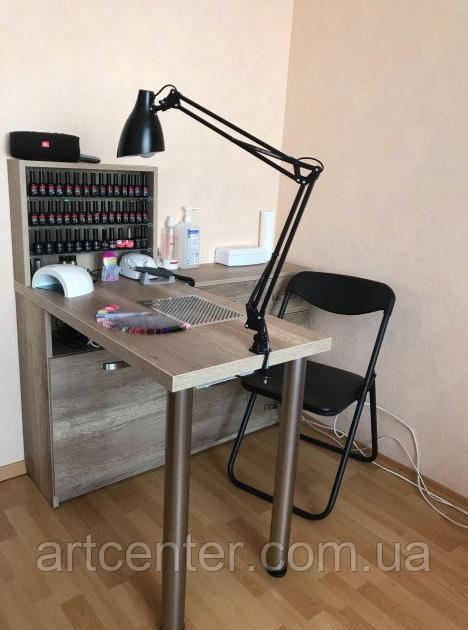 Маникюрный стол с тумбой, выдвижными ящикамии полочками для лаков
