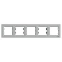 Рамка 5-местная Алюминий Asfora Schneider, EPH5800561