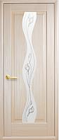 Дверное полотно Волна Со стеклом сатин и рисунком Р2 Ясень