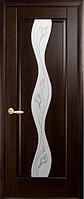 Дверное полотно Волна Со стеклом сатин и рисунком Р2 Венге new