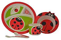 Набор детской бамбуковой посуды Eco Bamboo fibre kids set  5 предметов N02330 Red, фото 1