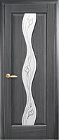 Дверное полотно Волна Со стеклом сатин и рисунком Р2 Серый (Grey)