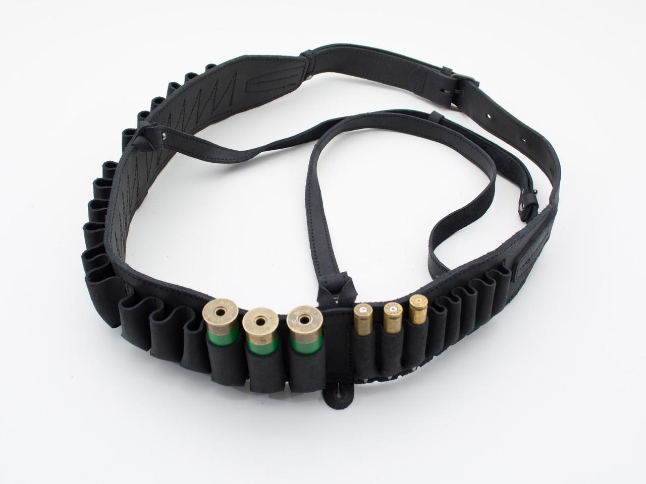Патронташ на пояс на 24 патрона комбинированый кожа черный 10303/1