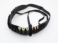 Патронташ на пояс на 24 патрона комбинированый кожа черный 10303/1, фото 1