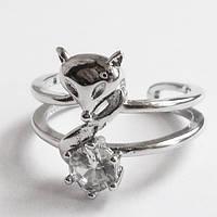 """Кольцо """"Хитрый лис"""" с кристаллом. Размер регулируется. Ювелирная бижутерия., фото 1"""